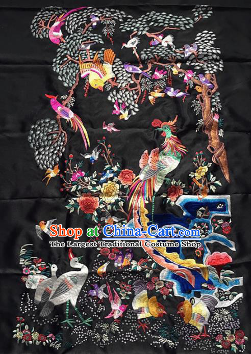 Chinese Traditional Embroidered Phoenix Black Silk Patches Handmade Embroidery Craft Cloth Fabric