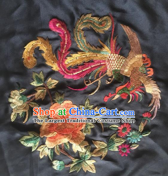 Asian Chinese Traditional Embroidered Phoenix Peony Black Silk Patches Handmade Embroidery Craft
