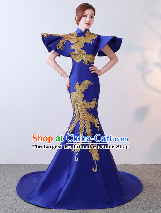 Chinese Traditional Costumes Elegant Royalblue Full Dress Wedding Trailing Qipao Dress for Women