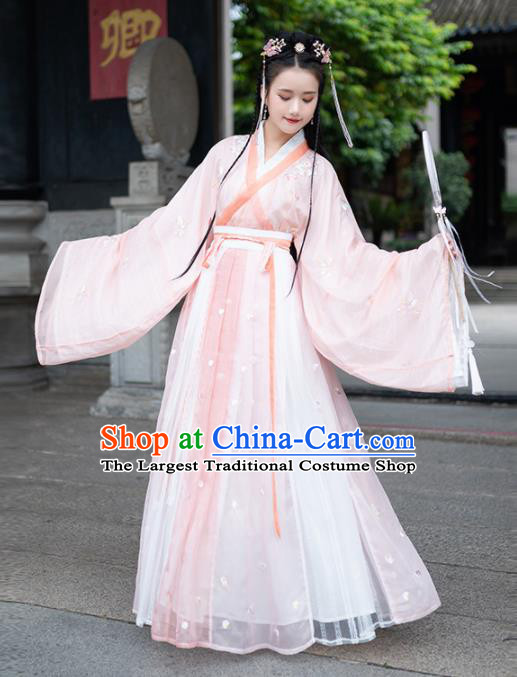 Traditional Chinese Jin Dynasty Nobility Lady Replica Costumes Ancient Royal Princess Pink Hanfu Dress for Women