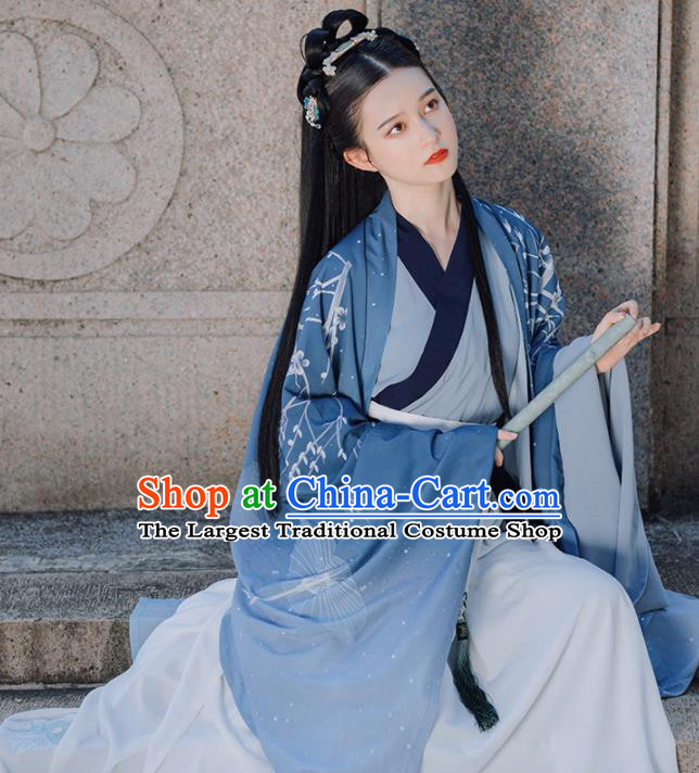 Traditional Chinese Jin Dynasty Imperial Concubine Replica Costumes Ancient Court Princess Blue Hanfu Dress for Women