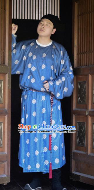 Traditional Chinese Tang Dynasty Civilian Replica Costumes Ancient Swordsman Blue Robe for Men