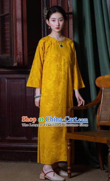 Traditional Chinese Golden Qipao Dress National Tang Suit Cheongsam Costume for Women