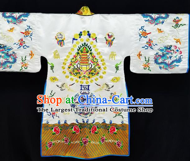 Chinese Ancient Taoist Priest Embroidered Dragon White Cassocks Traditional Taoism Vestment Costume