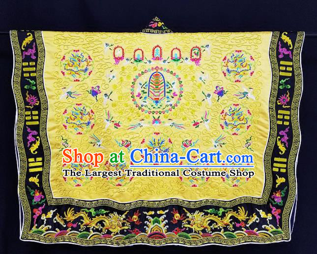 Chinese Ancient Taoist Priest Embroidered Round Dragons Yellow Cassocks Traditional Taoism Vestment Costume