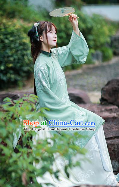 Traditional Chinese Ming Dynasty Royal Princess Historical Costumes Ancient Nobility Lady Green Hanfu Dress for Women