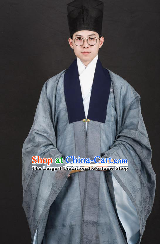 Traditional Chinese Ming Dynasty Swordsman Replica Costumes Ancient Taoist Priest Grey Hanfu Cloak for Men