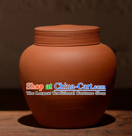 Traditional Chinese Handmade Zisha Tea Caddy Ashtray Red Clay Pottery Artware Tea Canister
