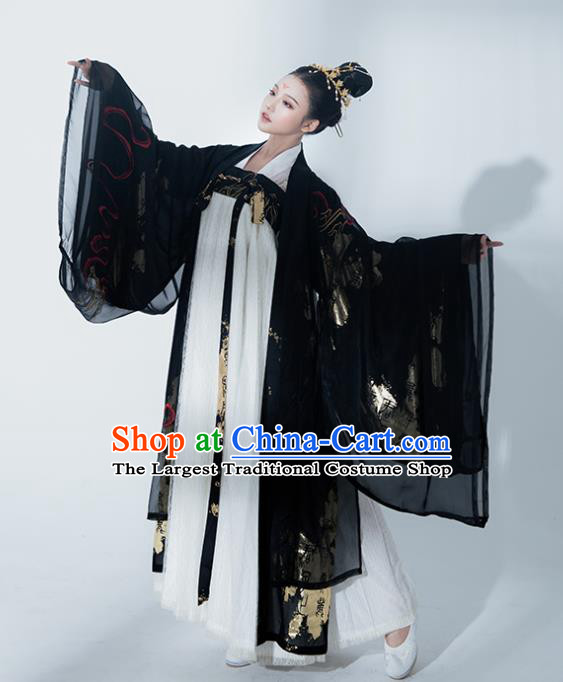 Chinese Tang Dynasty Princess Black Hanfu Dress Traditional Ancient Court Concubine Costumes for Women