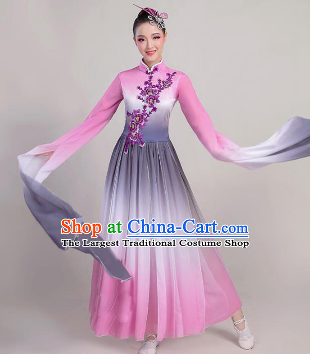 Chinese Traditional Umbrella Dance Pink Water Sleeve Dress Classical Dance Fan Dance Costume for Women