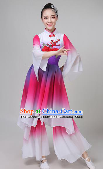 Chinese Traditional Folk Dance Yangko Rosy Outfits Fan Dance Classical Dance Costume for Women