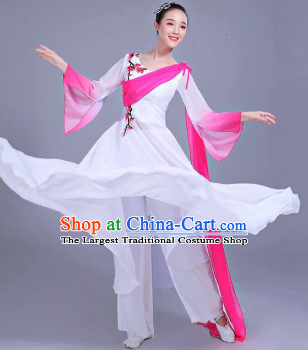 Chinese Traditional Umbrella Dance Stage Show White Dress Classical Dance Fan Dance Costume for Women