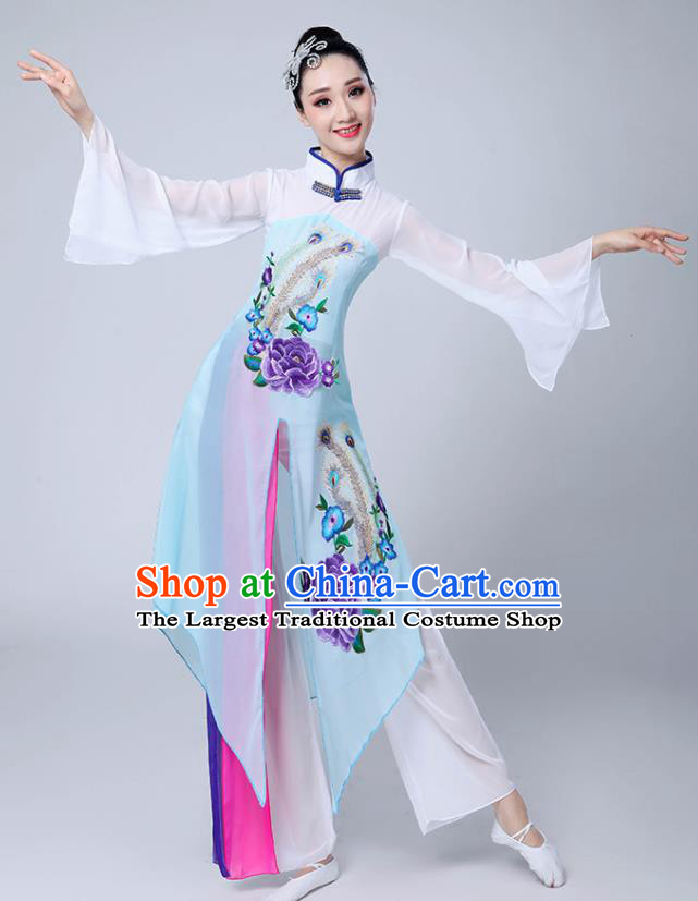 Chinese Traditional Umbrella Dance Stage Show Light Blue Dress Classical Dance Fan Dance Costume for Women