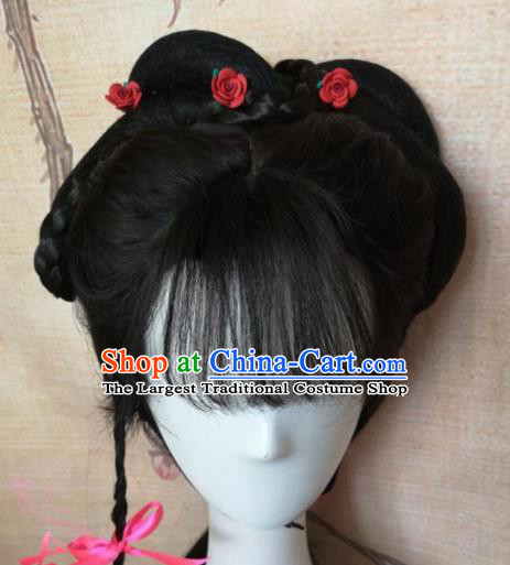 Chinese Traditional Cosplay Beijing Opera Diva Wigs Ancient Nobility Lady Wig Sheath Hair Accessories for Women