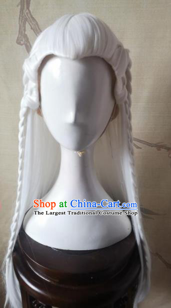 Traditional Chinese Cosplay Hanfu Swordsman White Wigs Ancient Taoist Priest Wig Sheath Hair Accessories for Men