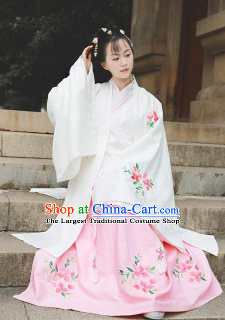 Traditional Chinese Ming Dynasty Royal Princess Replica Costumes Ancient Rich Lady White Hanfu Dress for Women