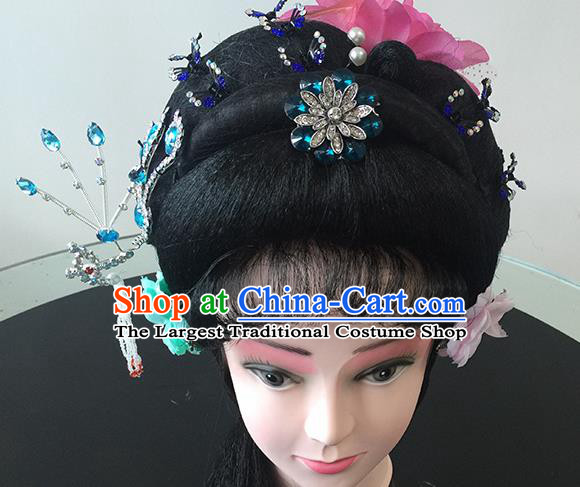 Chinese Beijing Opera Princess Headgear Traditional Peking Opera Diva Wig and Hair Accessories for Women