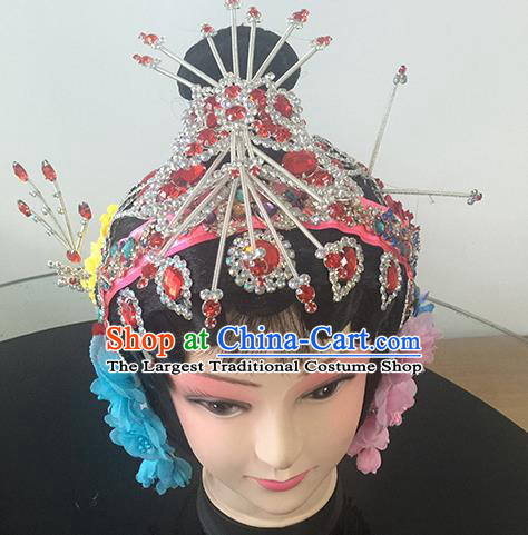Chinese Beijing Opera Princess Rosy Headgear Traditional Peking Opera Diva Wig and Hair Accessories for Women