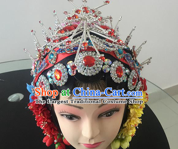 Chinese Beijing Opera Princess Red Headgear Traditional Peking Opera Diva Wig and Hair Accessories for Women