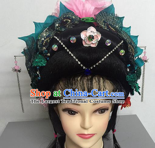 Chinese Beijing Opera Goddess Princess Headgear Traditional Peking Opera Wig Sheath and Hair Accessories for Women