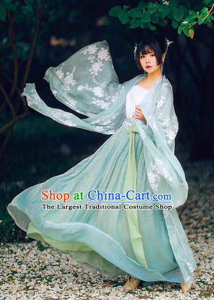 Ancient Chinese Song Dynasty Nobility Lady Green Hanfu Dress Court Princess Historical Costumes for Women