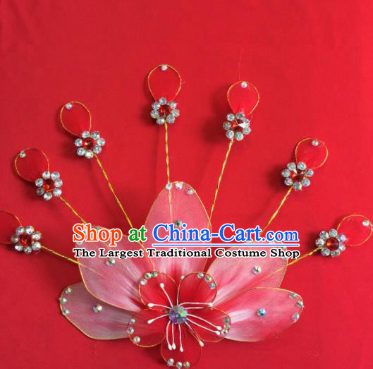 Chinese Beijing Opera Actress Red Hairpins Traditional Peking Opera Princess Hair Accessories for Women