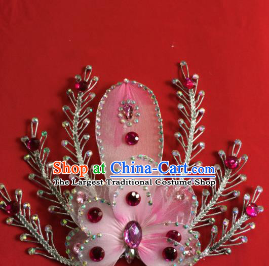 Chinese Beijing Opera Actress Pink Flower Hairpins Traditional Peking Opera Princess Hair Accessories for Women