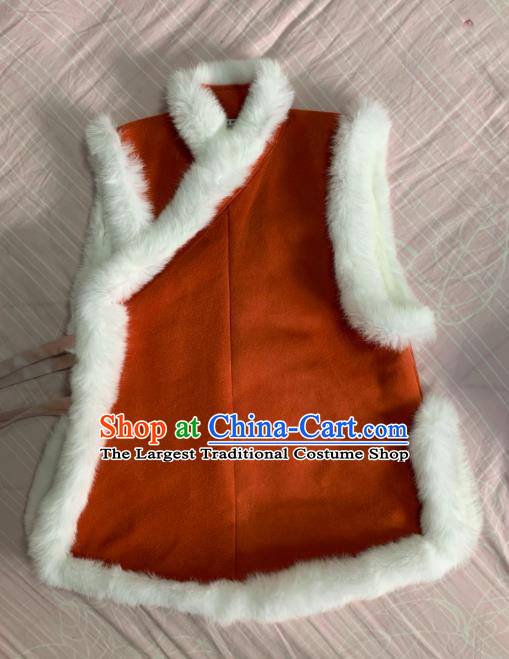 Chinese Ancient Nobility Lady Rust Red Vest Traditional Ming Dynasty Princess Costume for Women