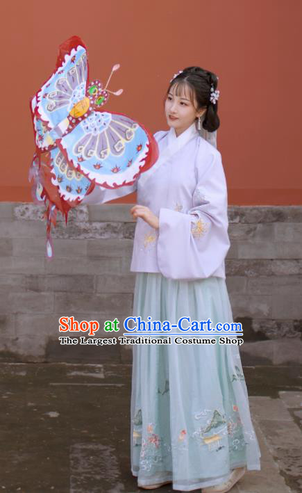Traditional Chinese Ming Dynasty Young Lady Replica Costumes Ancient Servant Girl Hanfu Dress for Women