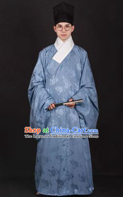 Chinese Traditional Ming Dynasty Taoist Priest Hanfu Blue Robe Ancient Scholar Costume for Men