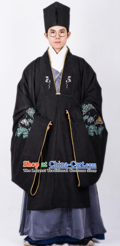 Chinese Traditional Ming Dynasty Scholar Hanfu Black Cloak Ancient Taoist Priest Costume for Men
