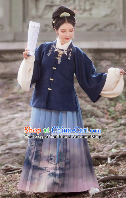 Traditional Chinese Ming Dynasty Female Winter Replica Costumes Ancient Nobility Lady Hanfu Dress for Women