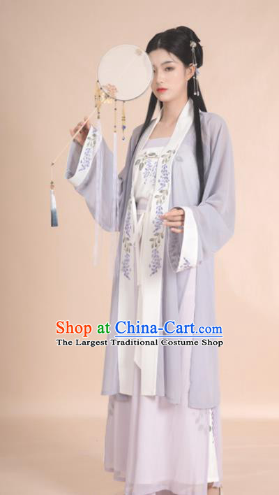 Traditional Chinese Song Dynasty Female Civilian Replica Costumes Ancient Young Lady Hanfu Dress for Women