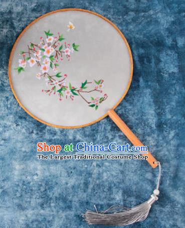 Chinese Traditional Handmade Embroidery Peach Flowers Round Fan Embroidered Palace Fans
