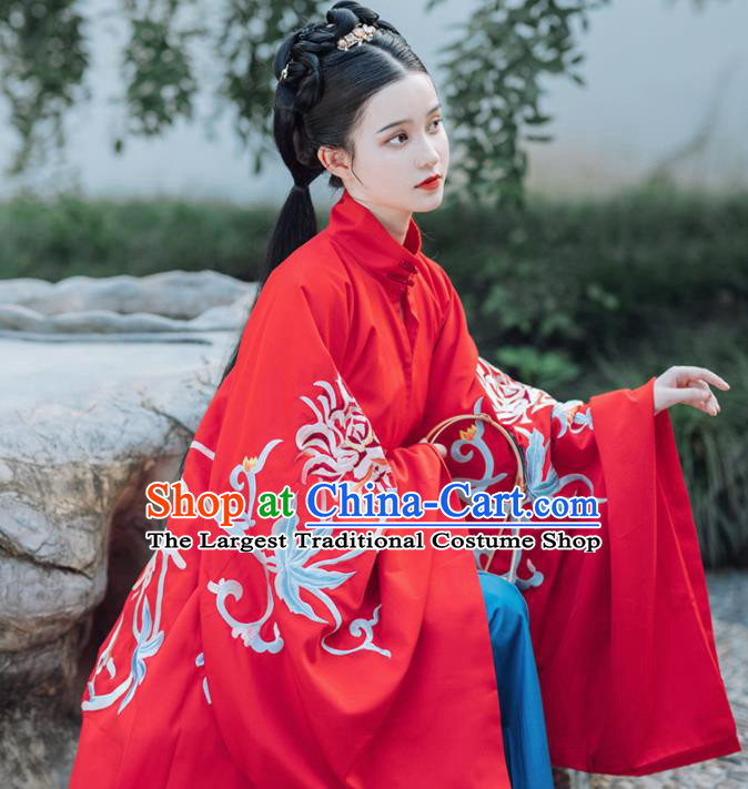 Traditional Chinese Ming Dynasty Dowager Wedding Embroidered Hanfu Dress Ancient Royal Princess Replica Costume for Women