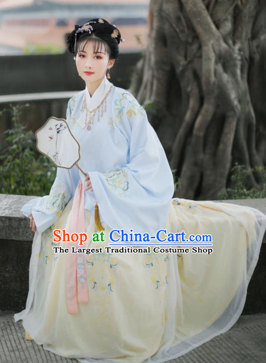 Traditional Chinese Ming Dynasty Embroidered Hanfu Dress Ancient Nobility Lady Replica Costume for Women