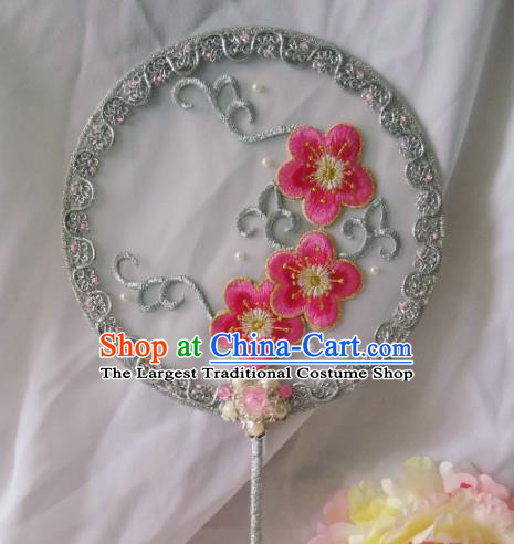 Traditional Chinese Classical Embroidered Peach Flowers Palace Fans Hanfu Bride Round Fan for Women