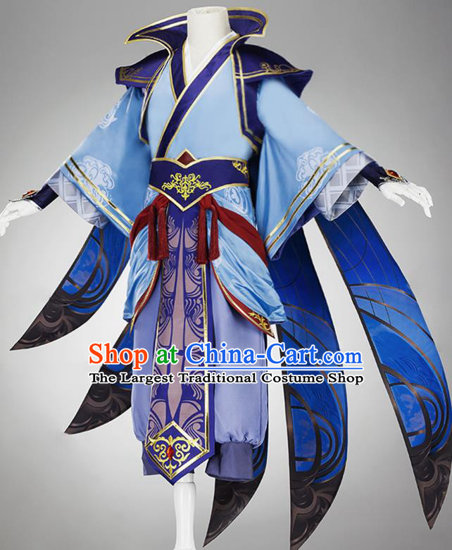 Traditional Chinese Cosplay Taoist Priest Blue Clothing Ancient Swordsman Costume for Men