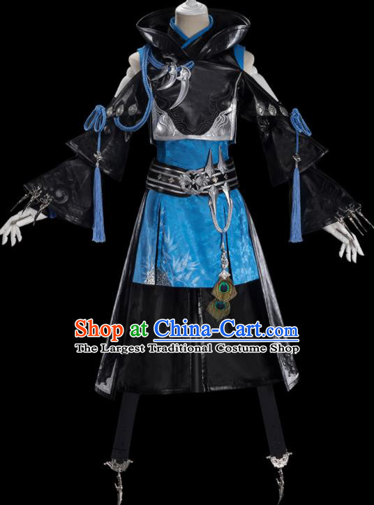 Traditional Chinese Cosplay Female Swordsman Black Dress Ancient Heroine Costume for Women