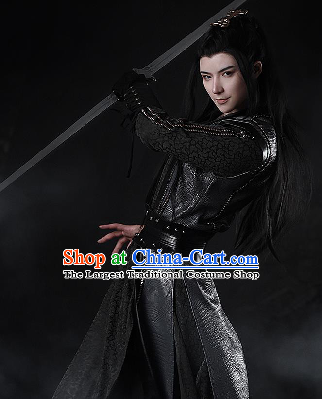 Traditional Chinese Cosplay The Untamed Nobility Childe Black Clothing Ancient Swordsman Costume for Men