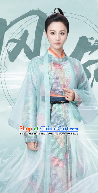 Ancient Chinese Female Swordsman Feng Ling Hanfu Dress Drama Heroine Costumes for Women