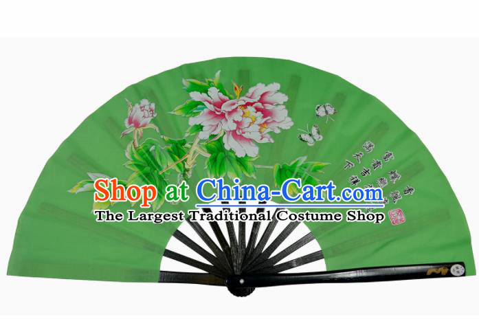 Chinese Handmade Martial Arts Printing Peony Green Silk Fans Accordion Fan Traditional Kung Fu Folding Fan
