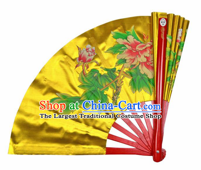 Chinese Handmade Martial Arts Printing Peony Yellow Silk Fans Accordion Fan Traditional Kung Fu Folding Fan