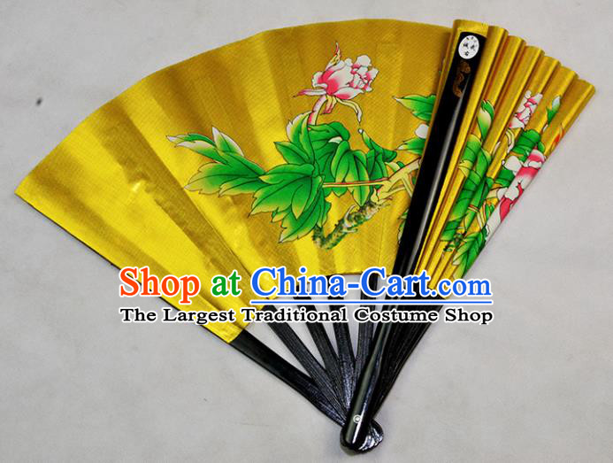 Chinese Handmade Martial Arts Printing Peony Golden Silk Fans Accordion Fan Traditional Kung Fu Folding Fan
