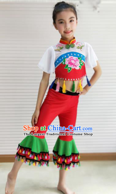 Traditional Chinese Folk Dance Spring Festival Fan Dance Clothing Yangko Dance Stage Show Costume for Kids