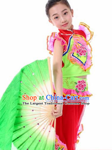 Traditional Chinese Folk Dance Fan Dance Red Clothing Yangko Dance Stage Show Costume for Kids