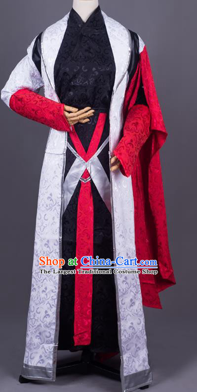 Traditional Chinese Cosplay Young Knight Black Costumes Ancient Swordsman Hanfu Clothing for Men