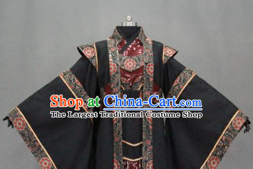 Customize Chinese Traditional Cosplay Monarch Black Costumes Ancient Swordsman Clothing for Men