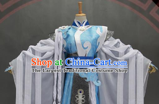 Customize Chinese Traditional Cosplay Taoist Priest Blue Costumes Ancient Swordsman Clothing for Men