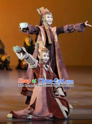 Chinese Zhaojun Chu Sai Ancient Mongol Nationality Dress Stage Performance Dance Costume and Headpiece for Women